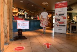 Social distancing measures in a Marston's pub